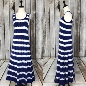 Calvin Klein Blue Striped Maxi Dress